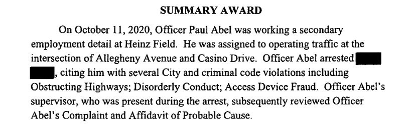 A section of the arbitration award upholding the City of Pittsburgh's firing of former police officer Paul Abel. The redaction was made in the copy of the award filed by the Fraternal Order of Police with the Allegheny County Court of Common Pleas.