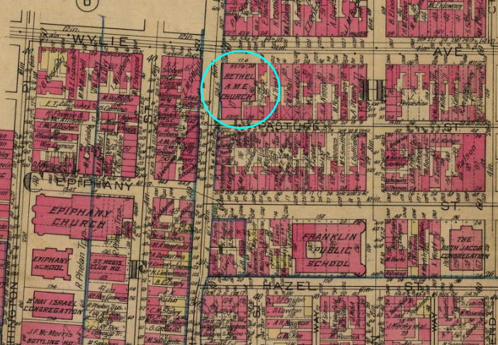 A 1923 map shows Bethel's location in the heart of the Lower Hill.