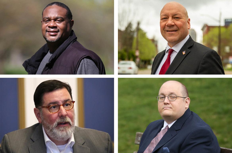 Clockwise from top left: State Rep. Ed Gainey, Tony Moreno, Mike Thompson, Mayor Bill Peduto.