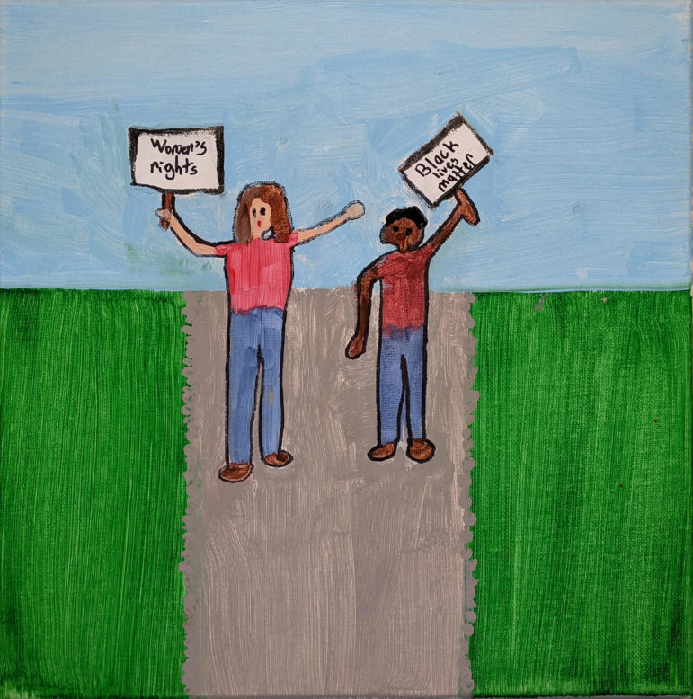 """a painting of two people on road inbetween grass. One holds a sign """"Women's rights"""" the other holds a sign that reads """"Black lives matter""""."""