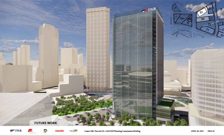 An artist's rendering of the proposed First National Bank tower, with Downtown behind it, presented by developer Buccini/Pollin Group to the City Planning Commission on April 20, 2021.