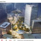 An artist's rendering of the proposed First National Bank tower, presented by developer Buccini/Pollin Group to the Pittsburgh City Planning Commission at a meeting on April 20, 2021.