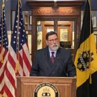 Pittsburgh Mayor Bill Peduto discusses his OnePGH plan for nonprofit, corporate and foundation investments into city needs at a press conference at the City-County Building on April 29, 2021. (Photo by Rich Lord/PublicSource)