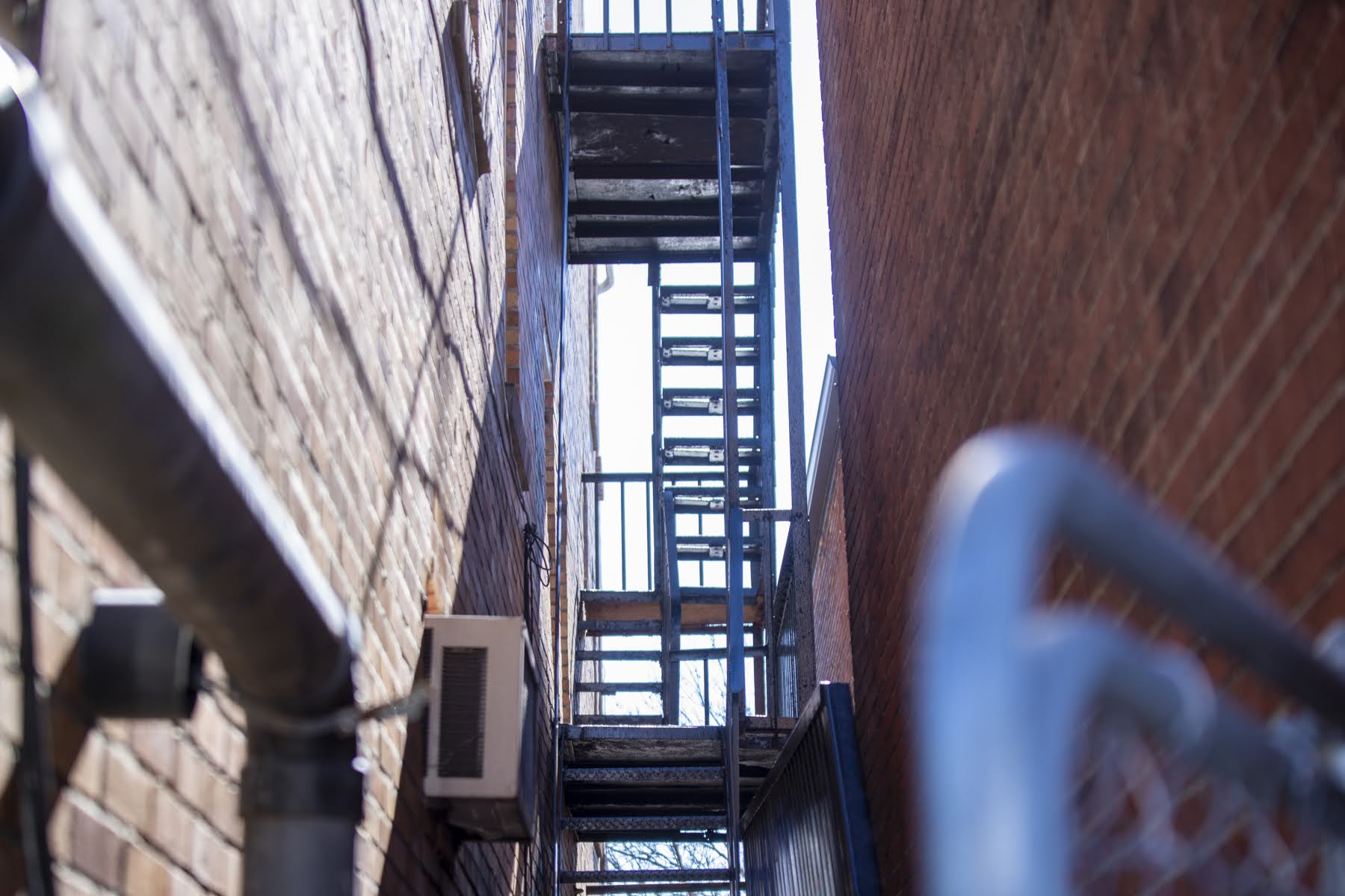 Failure of this fire escape to pass an Avalon Borough inspection led to a payment stoppage by the Allegheny County Housing Authority, which in turn prompted Mary Ellen Barber's landlord to issue its first notice telling her to move out. (Photo by Jay Manning/PublicSource)