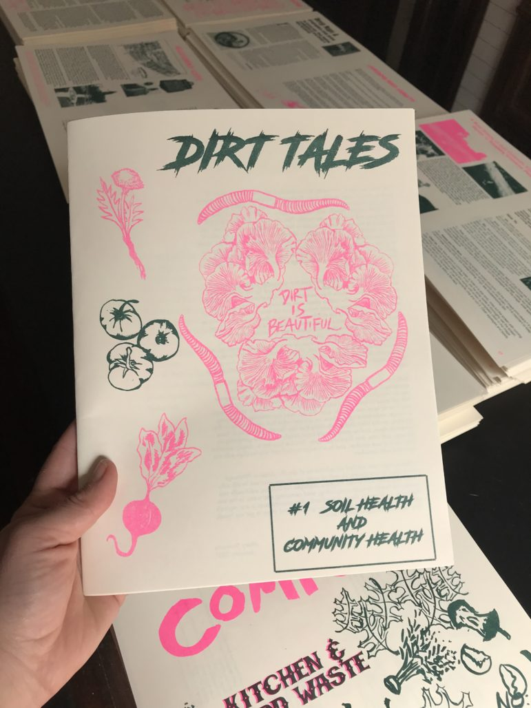 Mary Tremonte used a risograph to individually print 1,500 copies of her 'zine in two colors, hunter green and fluorescent pink. (Courtesy photo)