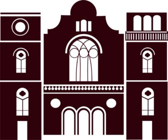 A 2-D rendering of Big Bethel that captures the Romanesque style with arched windows and doors