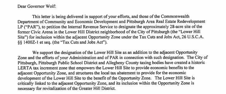 Caption: Excerpt from Pittsburgh Mayor Bill Peduto's letter to Gov. Tom Wolf on March 4, 2019.