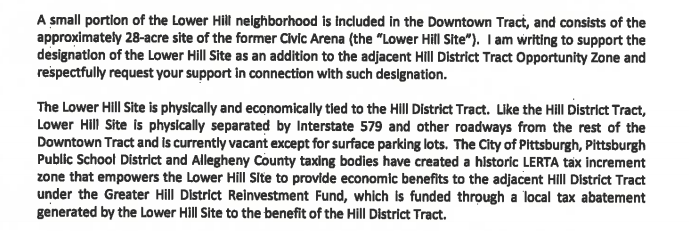 Caption: Excerpt from DCED Secretary Dennis Davin's letter to U.S. Treasury Secretary Steven Mnuchin on April 1, 2019.