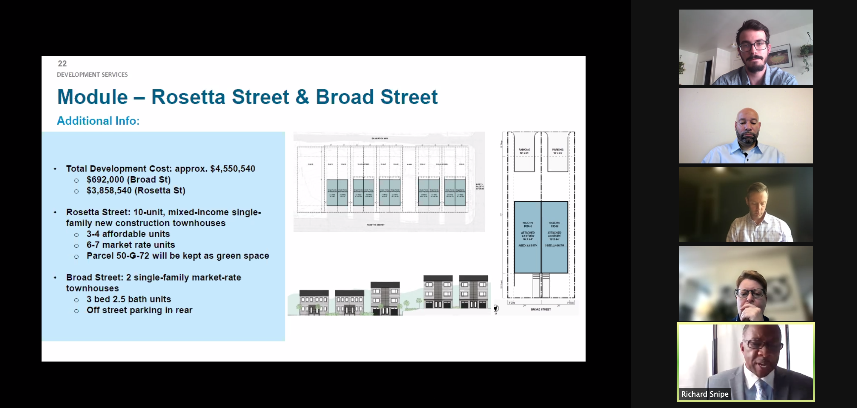 Urban Redevelopment Authority board members and staff talk about a concept for houses in Garfield presented by Module Design during the April 8, 2021 meeting of the URA board. (Screenshot)