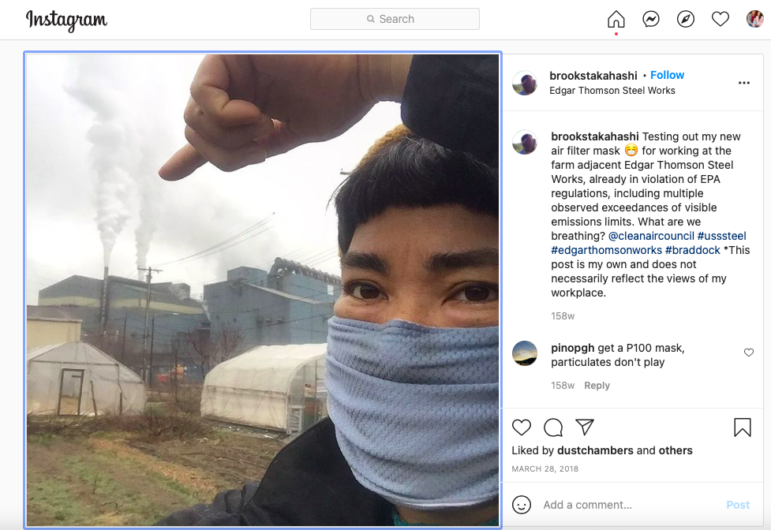 A screenshot of Brooks Takahashi's Instagram post, which led her to create a ten minute art piece that was eventually acquired by The Carnegie Museum.