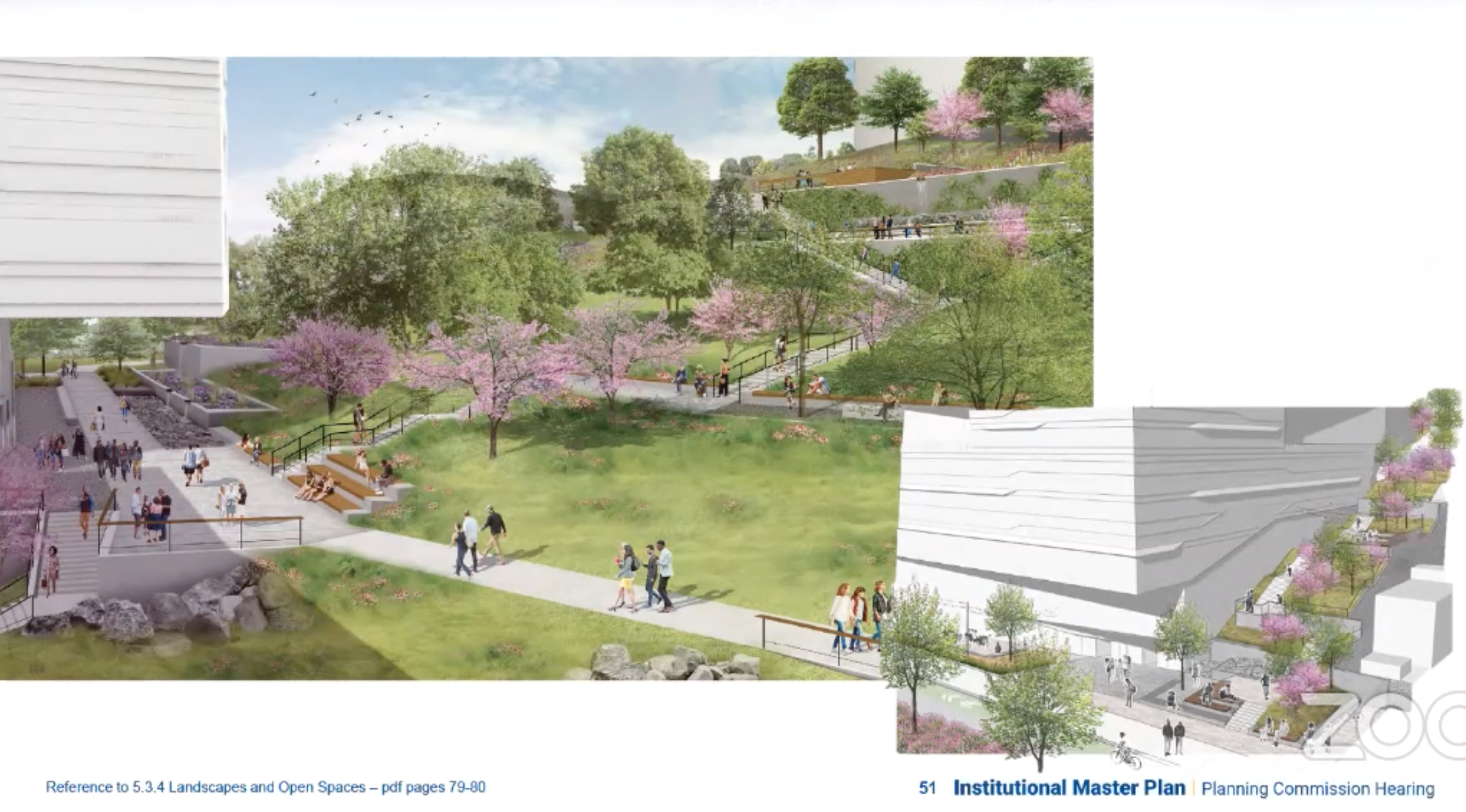 Illustration of the University of Pittsburgh's planned approach to landscaping, presented to the City Planning Commission on April 20, 2021. (Screenshot)