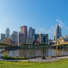 Cityscape of Pittsburgh with two bridges