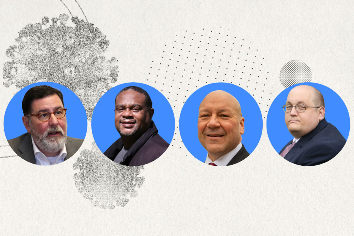 Photos of mayoral candidates Mayor Bill Peduto, Ed Gainey, Tony Moreno and Mike Thompson superimposed on a graphic image of covid-19 illustrations.