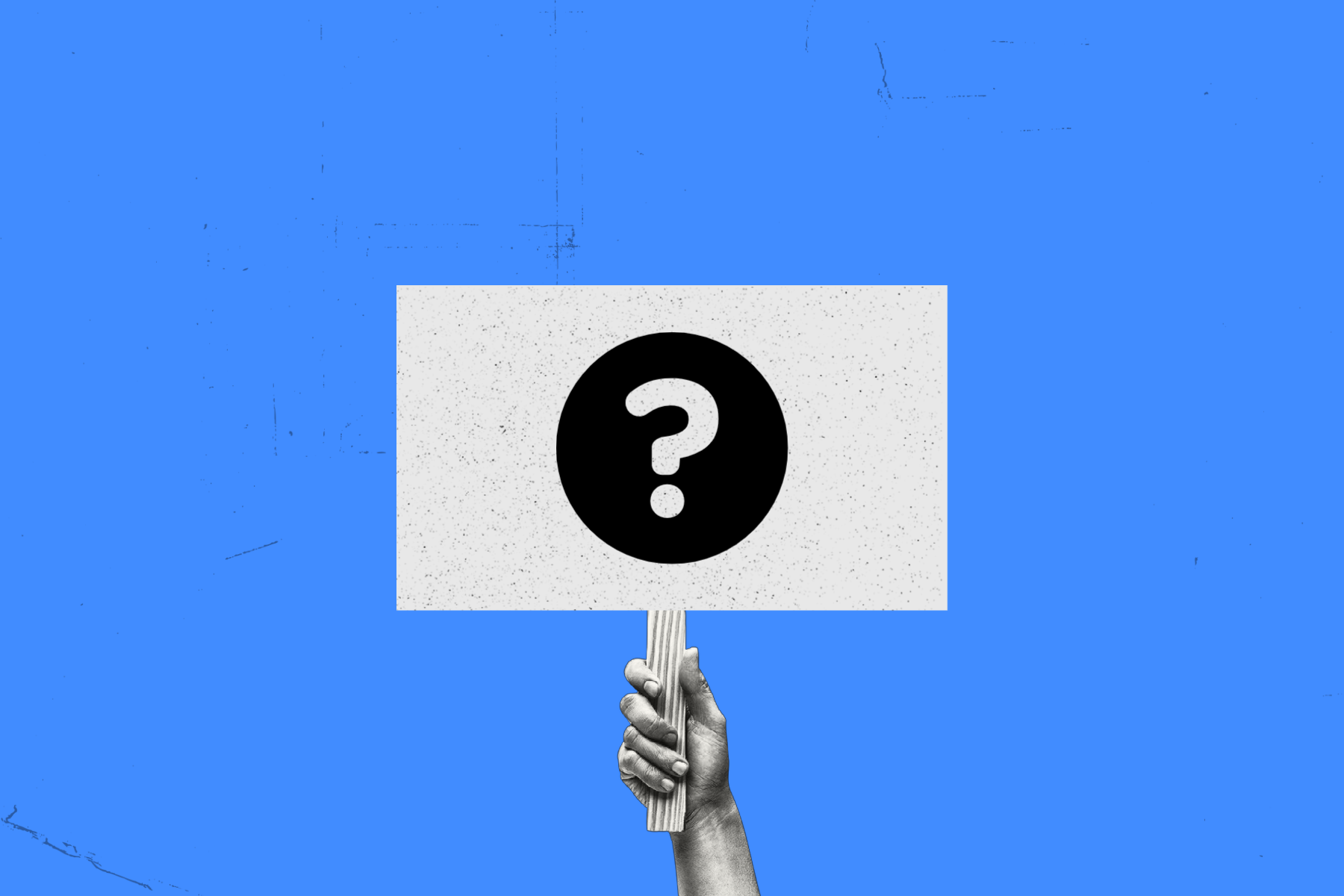photo illustration of hand holding strike sign with a question mark on it