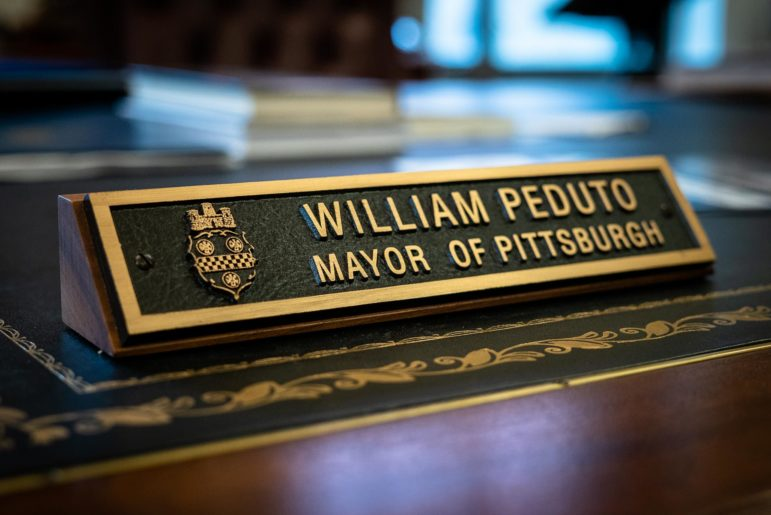 The name plate on the desk in Pittsburgh Mayor Bill Peduto's office. (Photo by Nick Childers/PublicSource)