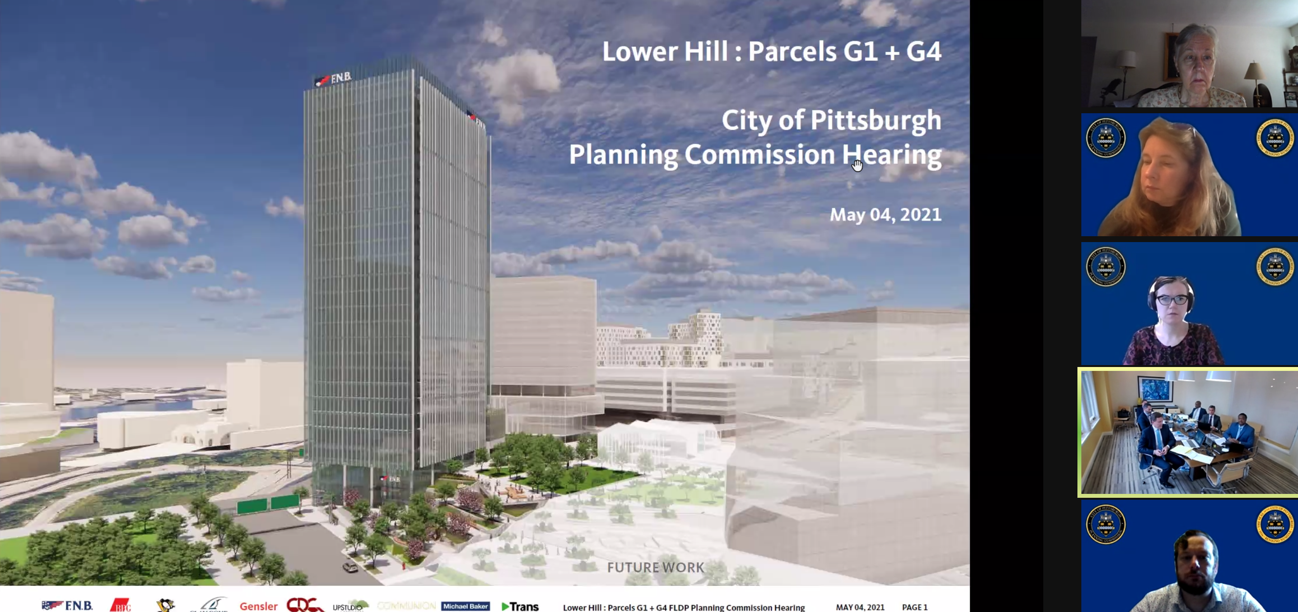 An artist's rendering of the First National Bank tower proposed for the former Civic Arena site, in the Hill District, presented on May 4, 2021 to the City Planning Commission, which approved the proposal.