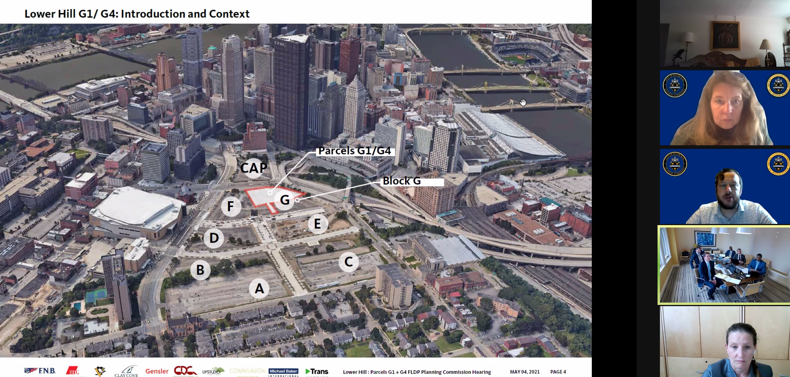 A map of the 28-acre site of the former Civic Arena. The City Planning Commission on May 4, 2021, approved a tower and open space on the area marked G.