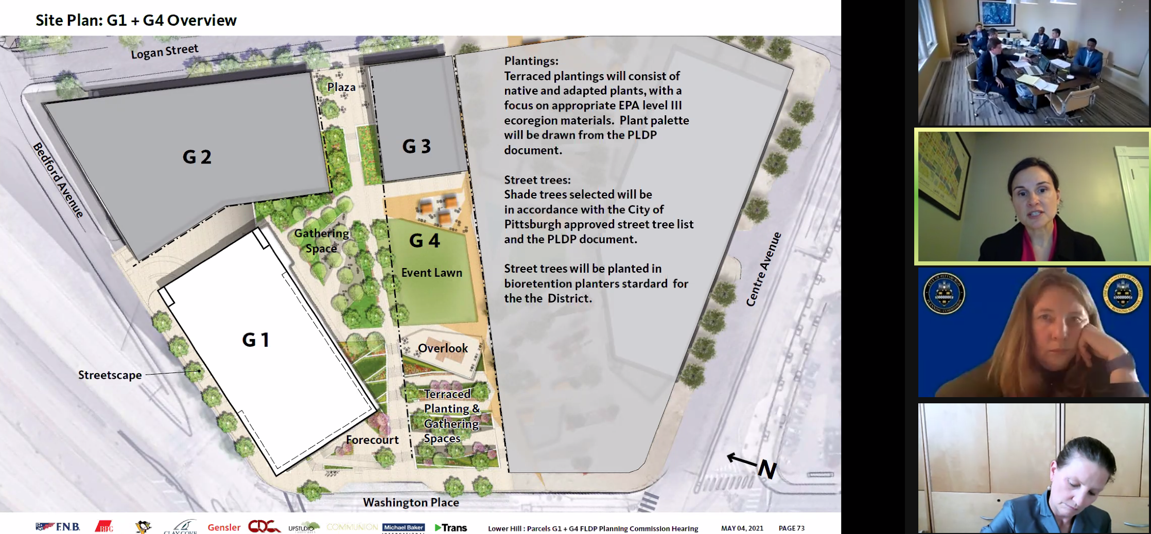 Map showing Buccini/Pollin Group plans for the end of the Civic Arena site closest to Downtown. Only the plans for the areas marked G1 and G4 were approved by the City Planning Commission on May 4, 2021.