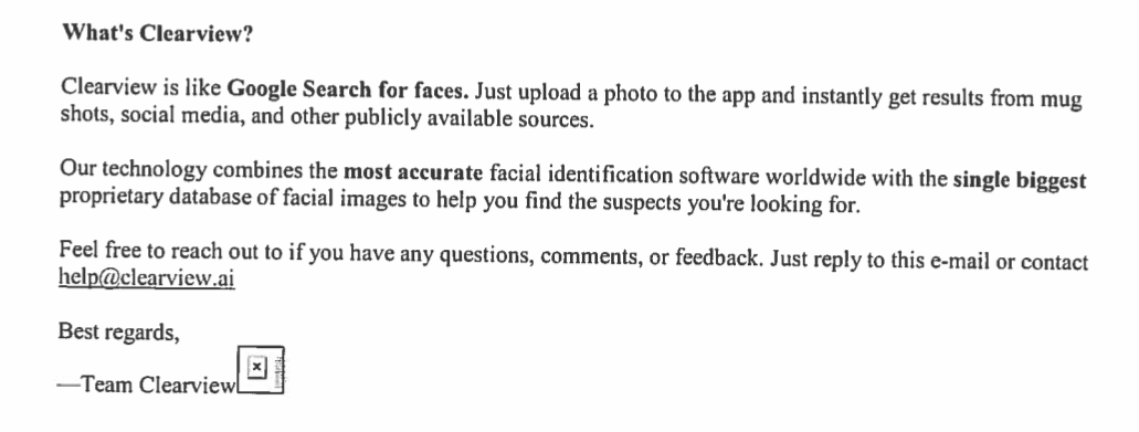 """Screenshot of a June 8, 2020 email obtained from the Pittsburgh Bureau of Police. The screenshot reads """"Clearview is like a Google search for faces. Just upload a photo to the app and instantly get results from mug shots, social media, and other publicly available sources."""""""