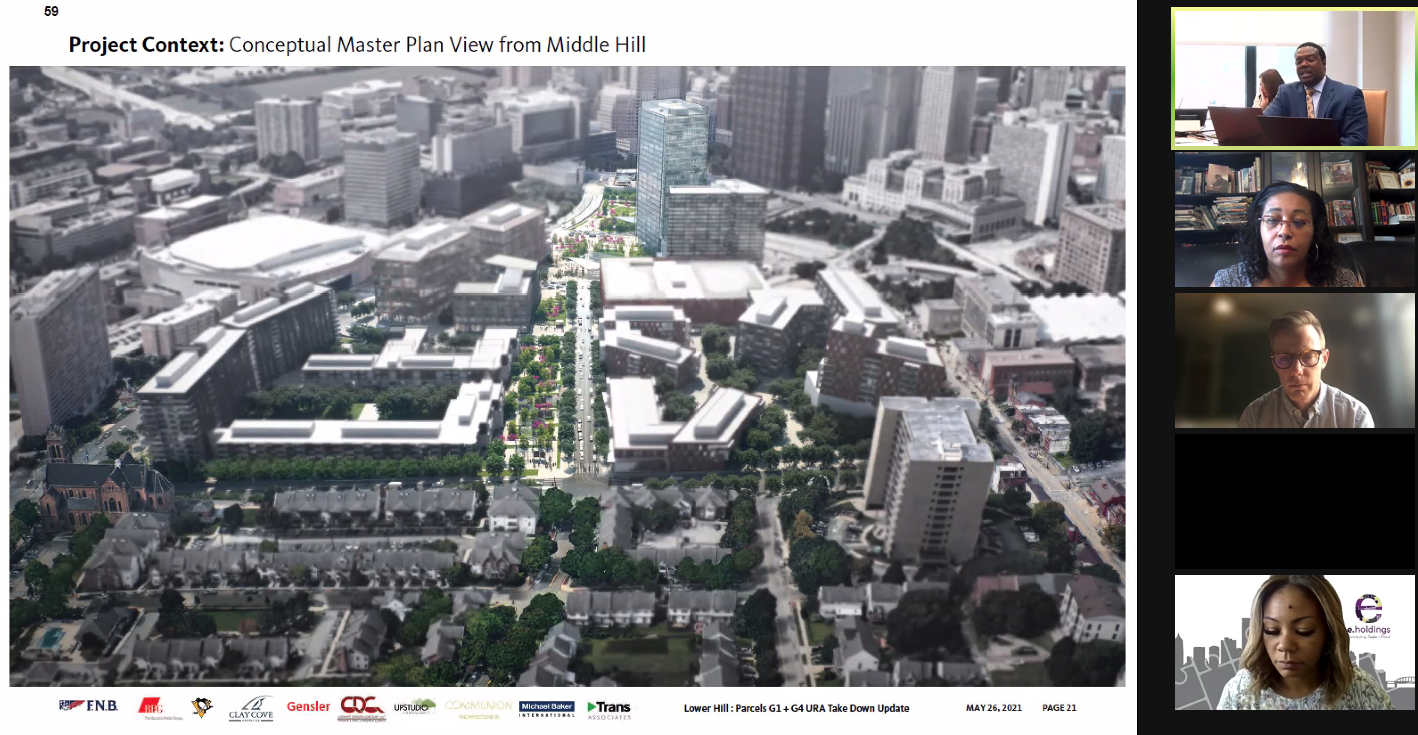 An artists rendering of a future aerial view of the former Civic Arena site, provided by developer Buccini/Pollin Group during a virtual briefing to the Urban Redevelopment Authority board on May 26, 2021. (Screenshot)