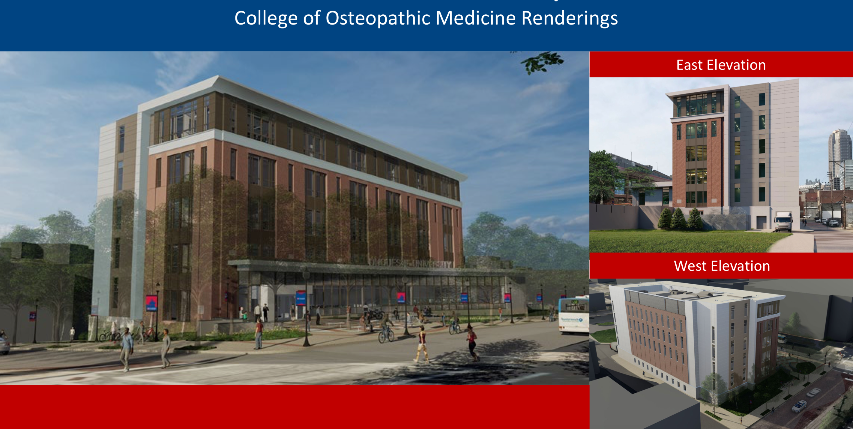 A rendering of Duquesne University's proposed College of Osteopathic Medicine building, presented to Pittsburgh's City Planning Commission on June 1, 2021.