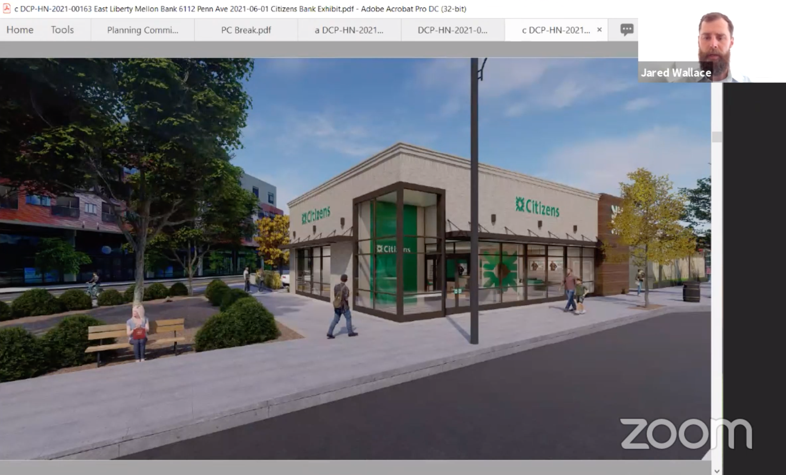 Jared Wallace, Citizens Bank's head of property, strategy and execution, shows the City Planning Commission a rendering of a potential new branch to be constructed in East Liberty, in a June 1, 2021 meeting conducted via Zoom. (Screenshot)