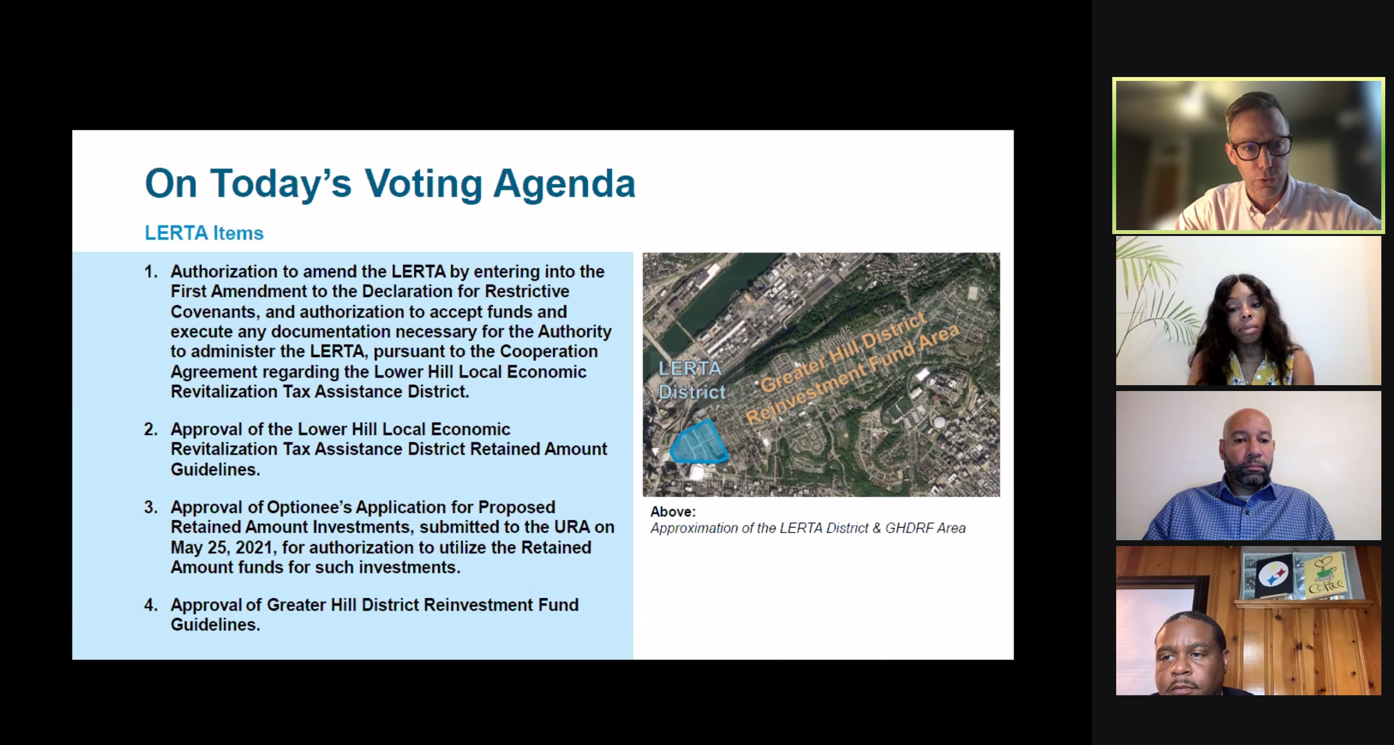 Urban Redevelopment Authority board members debate the transfer, to the Penguins' chosen development team, of Hill District land at a board meeting on June 10, 2021. (Screenshot)