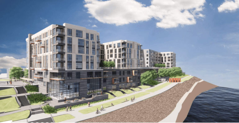 An artist's rendering of a proposed apartment building that developer SomeraRoad wants to build near the Three Rivers Heritage Trail at the Southside Works, submitted to the City Planning Commission for its meeting on June 15, 2021.