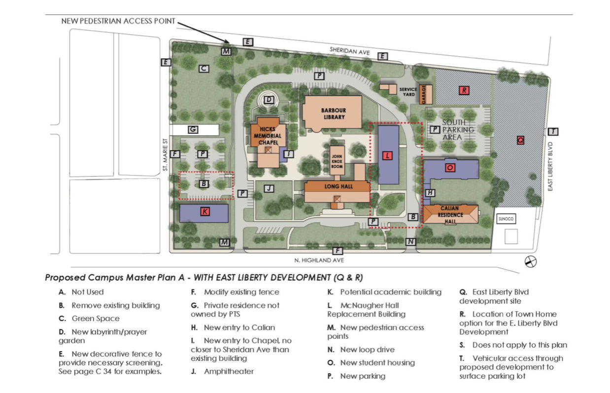 A map and plan submitted by the Pittsburgh Theological Seminary to the Pittsburgh City Planning Commission on June 15, 2021, as part of the campus' proposed 10-year development plan.