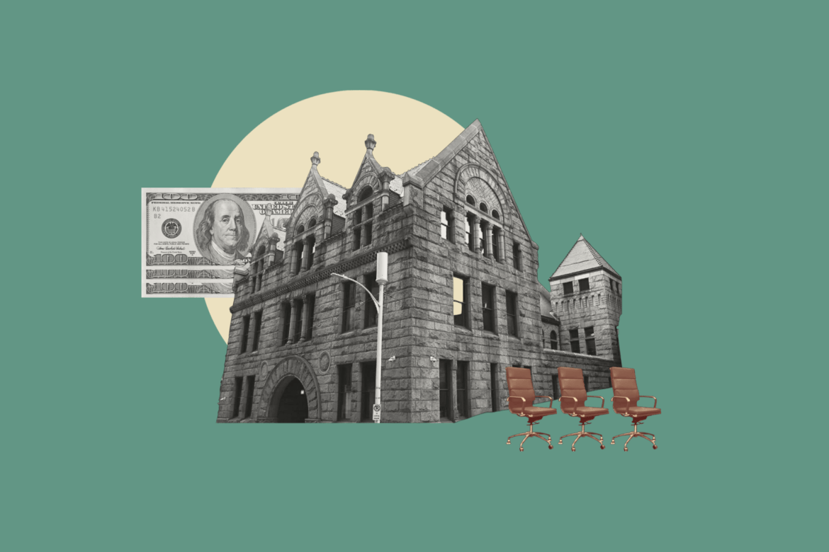 collage of government building with office chairs and money