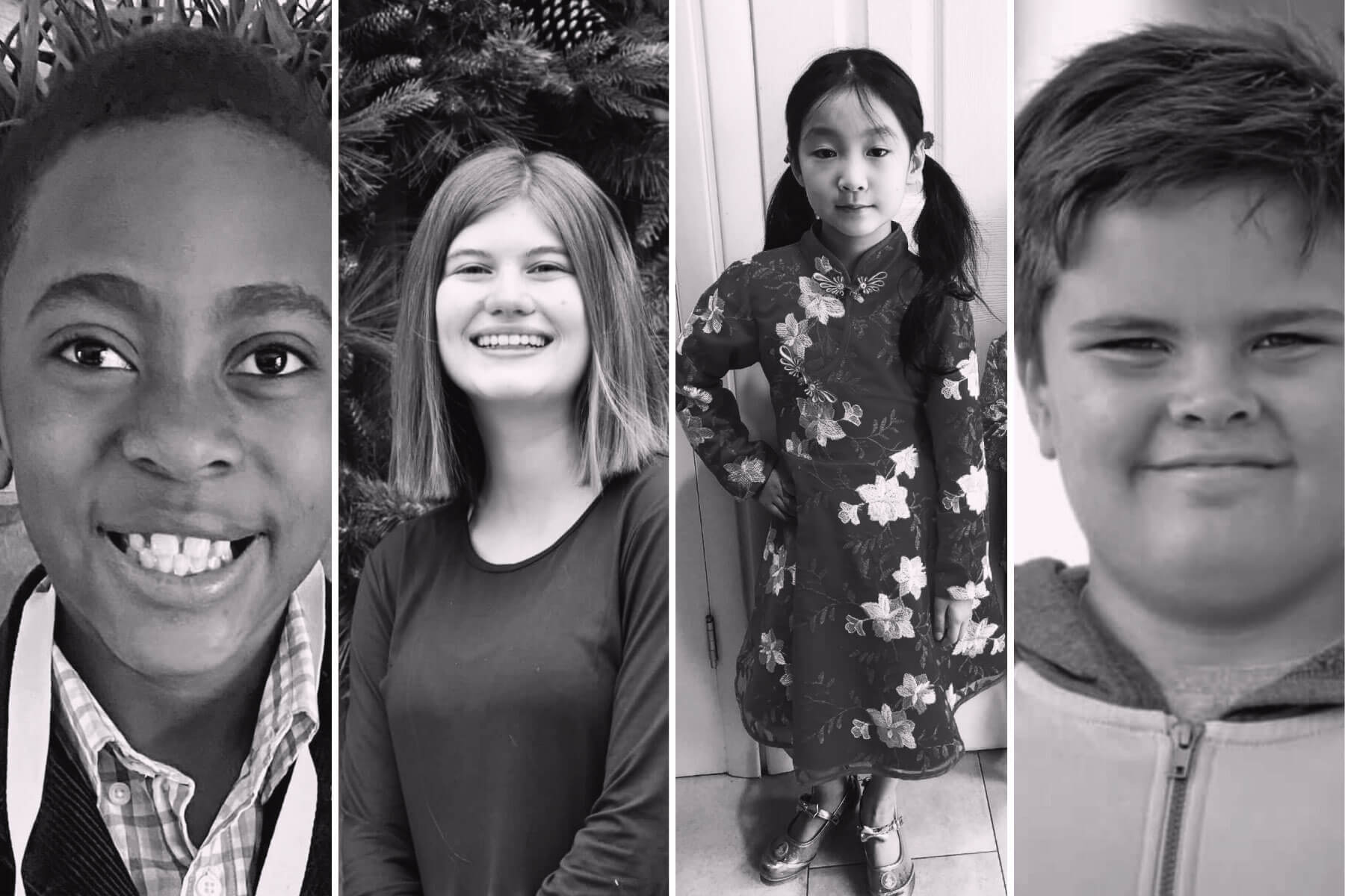 portraits of four kids