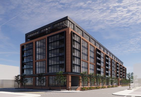 A rendering of the proposed Crucible Lofts building, which developer Westrise Capital wants to build in the Strip District, presented to the City Planning Commission on July 13, 2021.