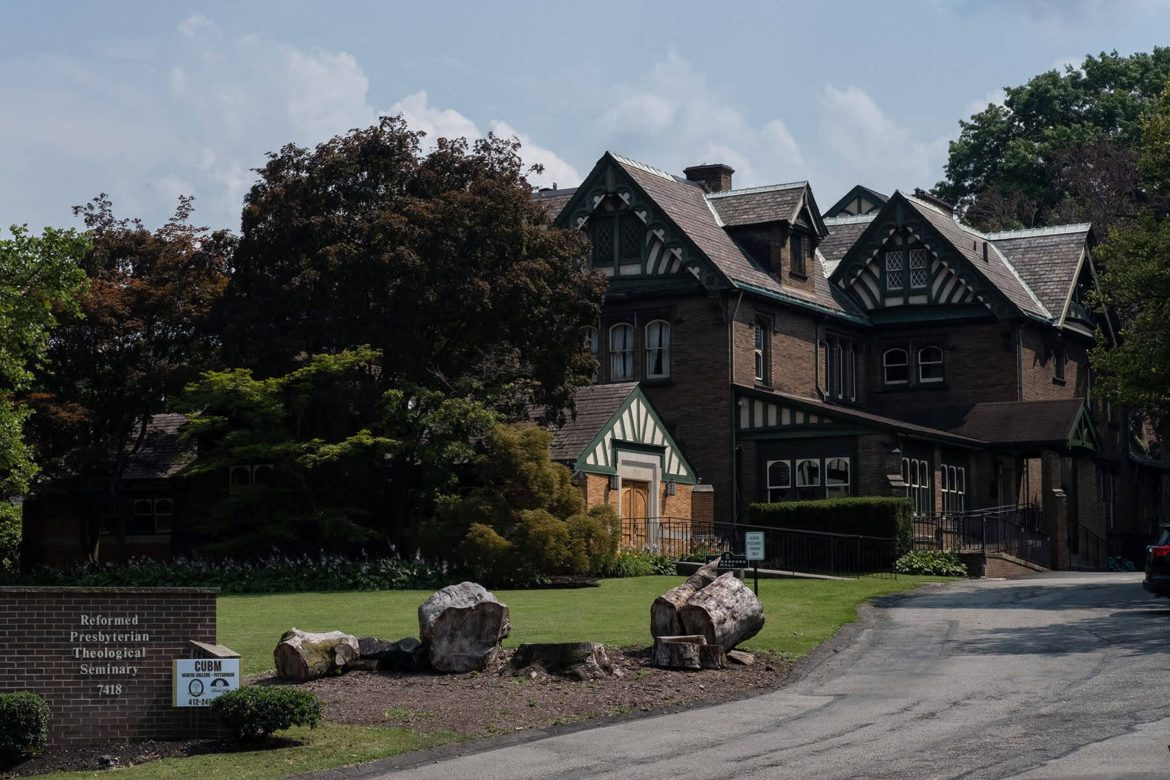 The Reformed Presbyterian Theological Seminary is housed in Rutherford Hall, a historic mansion on the east side of Pittsburgh, pictured here from the main driveway.