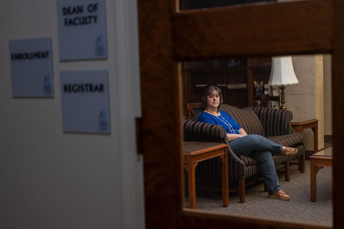 Rev. Leanna K. Fuller, associate professor of pastoral care at PTS, photographed through her office window.