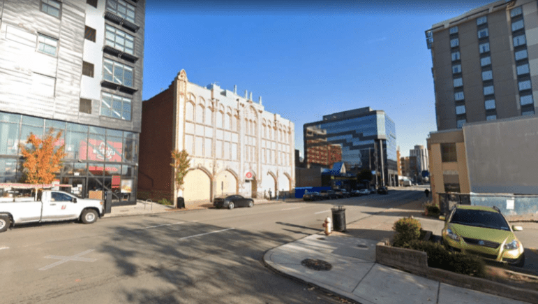 The former Croatian Federal Union of America building at 3441 Forbes Ave., in an image provided to the City Planning Commission on July 27, 2021. The University of Pittsburgh seeks to demolish it, but then to rebuild the historic facade.