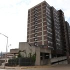 Midtown Plaza, an 11-story apartment building, is one of two affordable housing properties in McKeesport that PNC Bank bought in May 2018. (Photo by Ryan Loew/PublicSource)