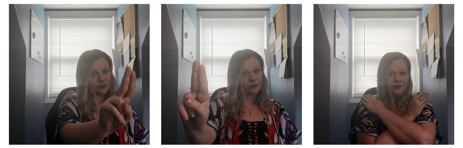"""EMDR therapist Stephanie Smigiel demonstrates how she moves her fingers to guide her clients' eyes during therapy. She also demonstrates placing her hands on her shoulders just as her clients would during EMDR therapy. She calls this motion """"the butterfly tap."""" (Courtesy photo)"""