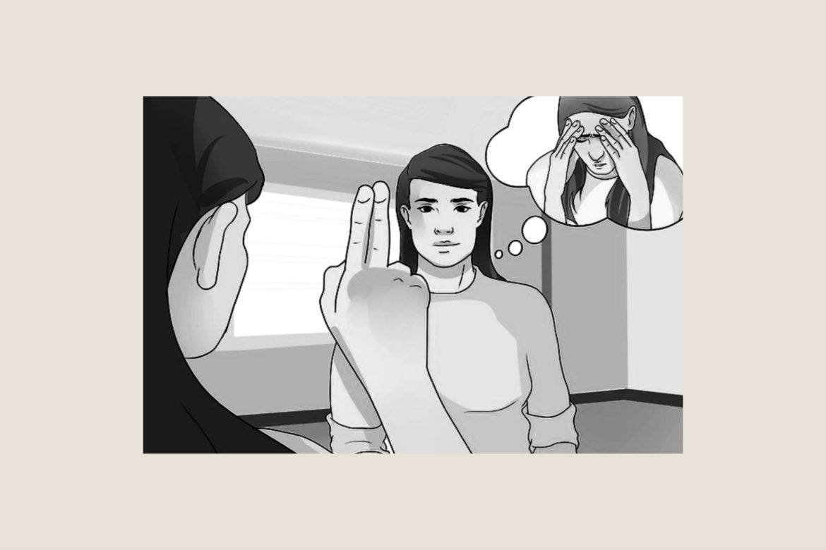 An illustration of a woman doing eye therapy on another woman and a thought bubble appearing behind the person getting the therapy showing traumatic thoughts.