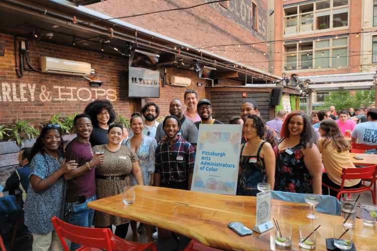 Pittsburgh Arts Administrators of Color held its first in-person meeting July 29 at Il Tetto Rooftop Beer Garden on Penn Avenue in Downtown Pittsburgh. Photo courtesy of Pittsburgh Art Administrators of Color.