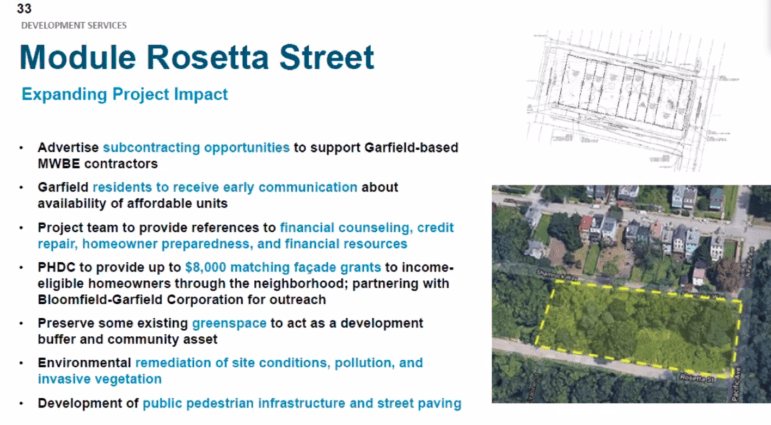 Richard Snipe, deputy director of the URA-affiliated Pittsburgh Housing Development Corp., describes plans for new housing along Garfield's Rosetta Street to the Urban Redevelopment Authority board at a virtual meeting on Aug. 12, 2021. (Screenshot)