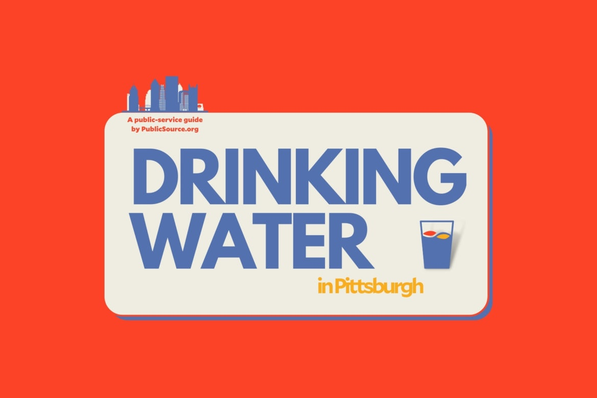 """Red and blue banner reading """"Drinking water in Pittsburgh: a public service guide by PublicSource.org"""""""