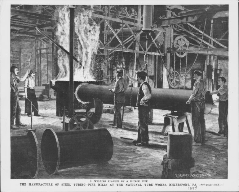 Photo of Engraving of the manufacture of steel tubing pipe mills at the National Tube Works, McKeesport, Pennsylvania, 1897.