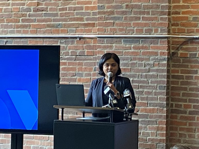 Nehal Bhojak, general manager of OneValley's start-up incubator at Hazelwood Green, discusses progress at the official opening of the facility on Sept. 22, 2021. (Photo by Rich Lord/PublicSource)