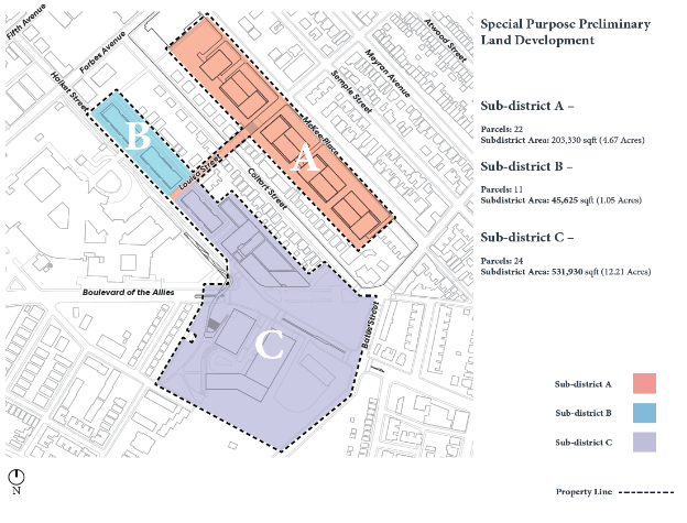 Map of proposed Oakland Crossing district, from legislation expected to be introduced to Pittsburgh City Council.