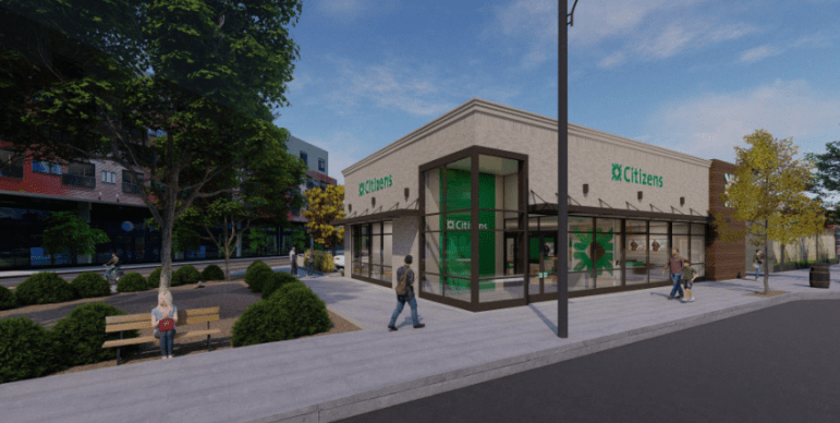 A rendering of a proposed new Citizens Bank branch slated for East Liberty, presented to the City Planning Commission as part of an application to demolish the vacant branch currently on the site.