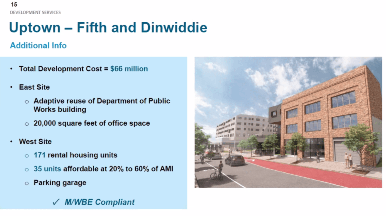 An artist's rendering and basic description of proposed development at the corner of Fifth Avenue and Dinwiddie Street, in Uptown, presented to the Urban Redevelopment Authority board on Sept. 9, 2021. (Screenshot)
