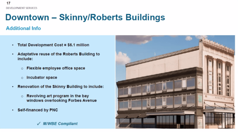Slide describing the Skinny Building and Roberts Building sale by the Urban Redevelopment Authority to an affiliate of PNC Bank, at a URA board meeting on Sept. 9, 2021. (Screenshot)