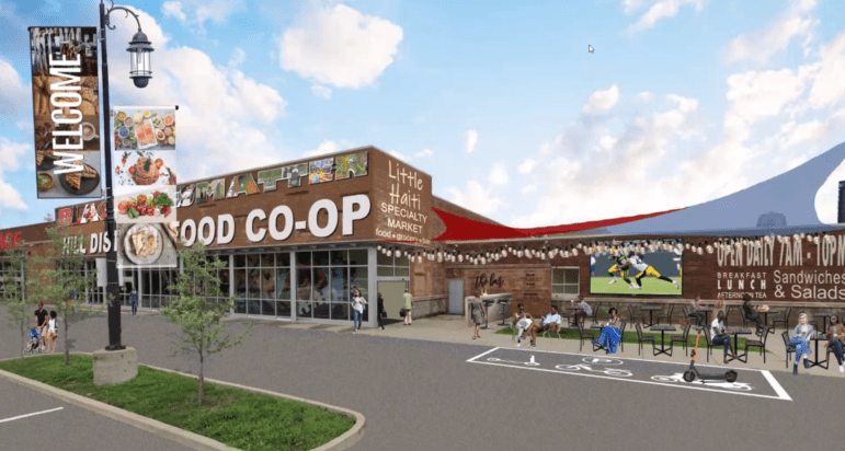 An artist's rendering of the proposed Hill Food Co-Op, presented at a meeting for Hill District residents regarding options for the Centre Heldman Plaza grocery store space. (Screenshot)