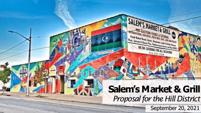 An artist's rendering of the proposed Salem's Market and Grill, presented at a meeting for Hill District residents regarding options for the Centre Heldman Plaza grocery store space. (Screenshot)