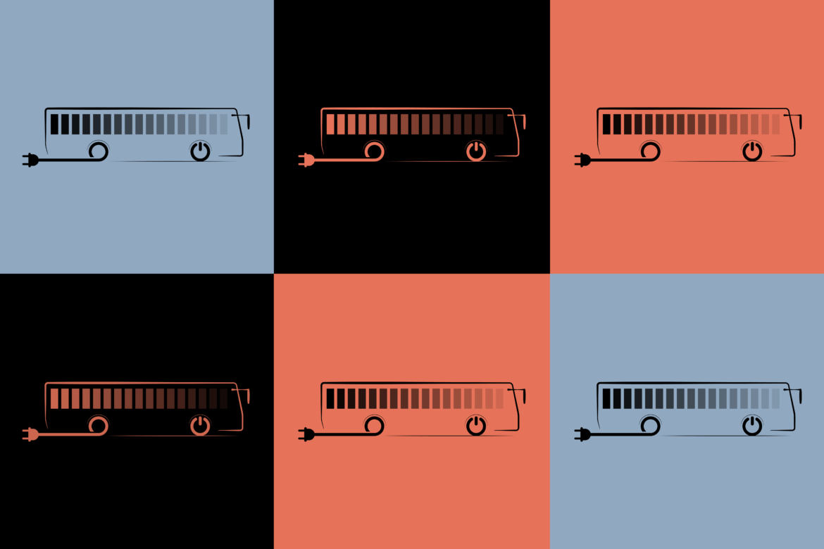 Six icons of electric buses in a colorful grid